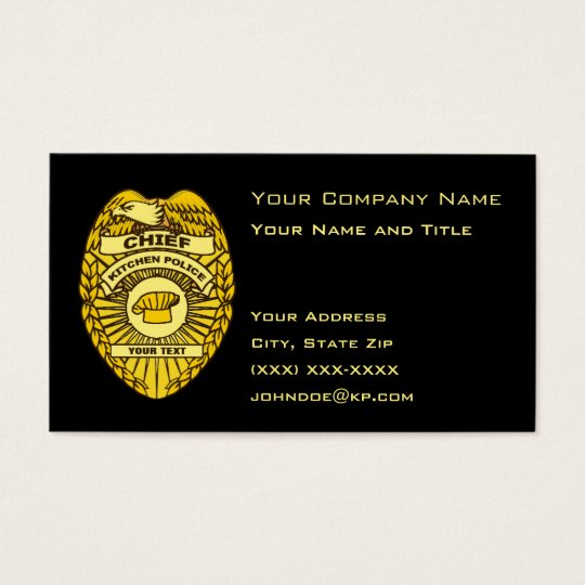 Chief of kitchen police badge business card zazzle chief of kitchen police badge business card colourmoves Images