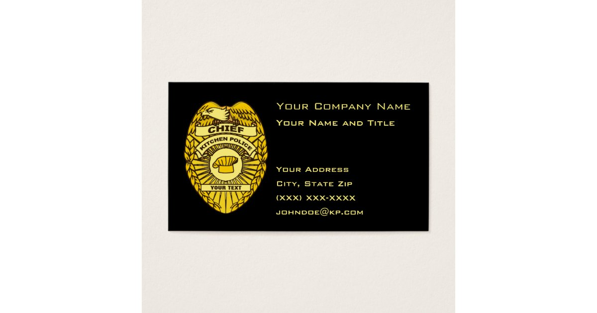 Chief Of Kitchen Police Badge Business Card | Zazzle.com