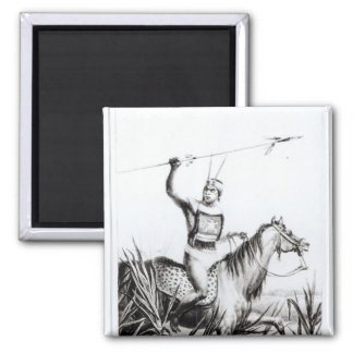 Chief of the Charruas, engraved by C. Motte 2 Inch Square Magnet
