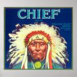 Chief Orange LabelRedlands, CA Poster