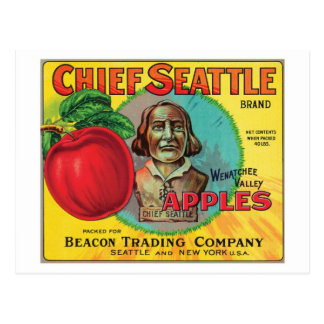 Chief Seattle Vintage Apples Label Postcard
