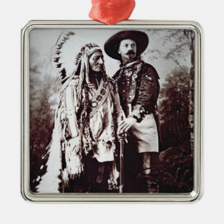 Chief Sitting Bull (1831-90) on tour with Buffalo Square Metal Christmas Ornament