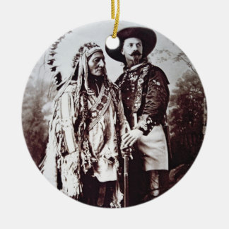 Chief Sitting Bull (1831-90) on tour with Buffalo Double-Sided Ceramic Round Christmas Ornament