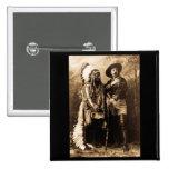 Chief Sitting Bull and Buffalo Bill 1895 2 Inch Square Button