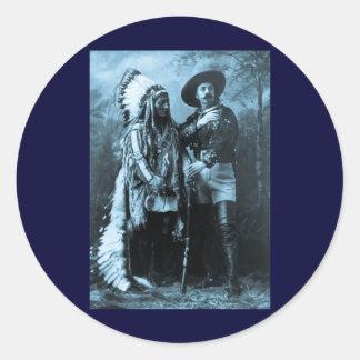 Chief Sitting Bull and Buffalo Bill 1895 Classic Round Sticker