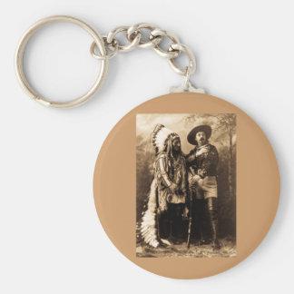 Chief Sitting Bull and Buffalo Bill 1895 Basic Round Button Keychain