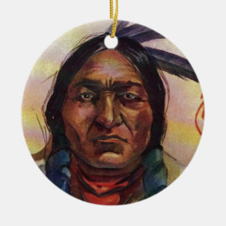 Chief Sitting Bull Double-Sided Ceramic Round Christmas Ornament