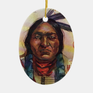 Chief Sitting Bull Double-Sided Oval Ceramic Christmas Ornament