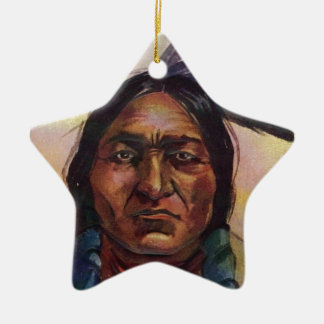 Chief Sitting Bull Double-Sided Star Ceramic Christmas Ornament