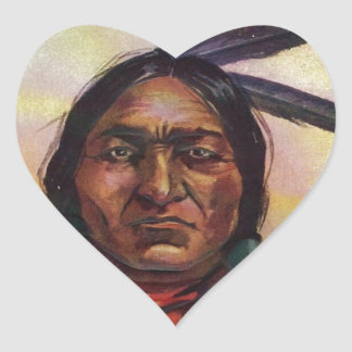 Chief Sitting Bull Heart Sticker