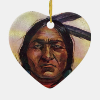 Chief Sitting Bull Double-Sided Heart Ceramic Christmas Ornament