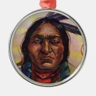 Chief Sitting Bull Round Metal Christmas Ornament
