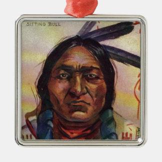 Chief Sitting Bull Square Metal Christmas Ornament