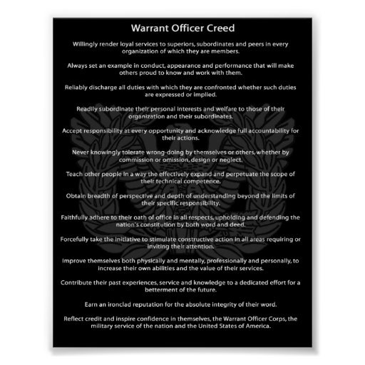 Chief Warrant Officer Creed Poster Images Frompo