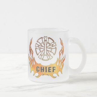 Chief's Flames 10 Oz Frosted Glass Coffee Mug