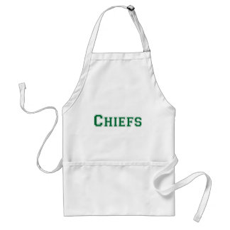 Chiefs square logo in green adult apron