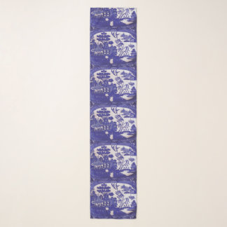 Chiffon Blue Willow Pattern Scarf
