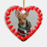 Chihuahua Adorno Navideño De Cerámica En Forma De Corazón