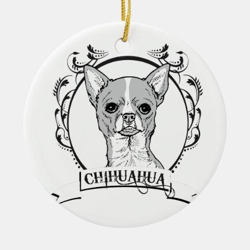 CHIHUAHUA ADORNO NAVIDEÑO REDONDO DE CERÁMICA