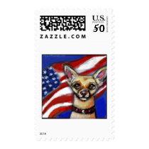 Chihuahua American Flag Postage