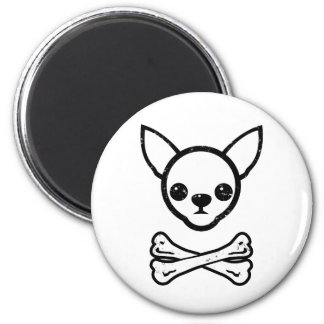 Chihuahua and bones (editable) 2 inch round magnet