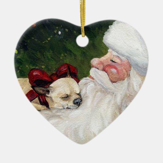 Chihuahua and Santa Dog Art Christmas Ornament - Chihuahua And Santa Dog Art Christmas Ornament Zazzle.com