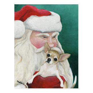 """""""Chihuahua and Santa"""" Dog Art Postcard"""