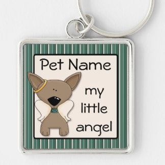 Chihuahua Angel Dogs Keepsake Keyring Add Name Silver-Colored Square Keychain