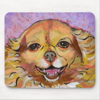 Chihuahua art - Adorable fun smiling happy girl Mouse Pad