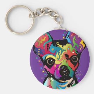 Chihuahua Art Basic Round Button Keychain
