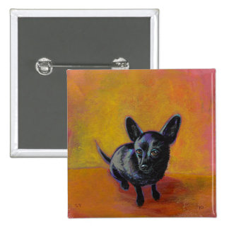 Chihuahua art cute black dog original painting buttons