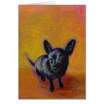 Chihuahua art cute black dog original painting greeting cards