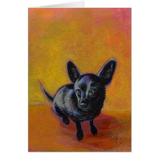 Chihuahua art cute black dog original painting card