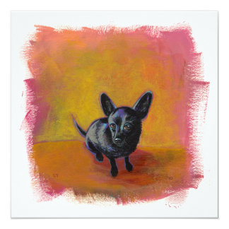 Chihuahua art cute black dog original painting custom invite