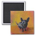 Chihuahua art cute black dog original painting refrigerator magnet