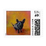 Chihuahua art cute black dog original painting stamps