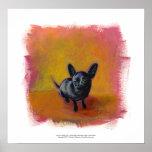 Chihuahua art cute black dog original painting posters