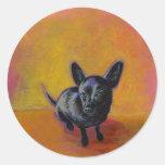 Chihuahua art cute black dog original painting round stickers