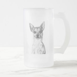 Chihuahua Art Frosted Glass Beer Mug