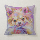"Chihuahua Art Pillow<br><div class=""desc"">For Chihuahua lovers,  lovely Throw Pillow with Chihuahua art design in lilac colors.</div>"