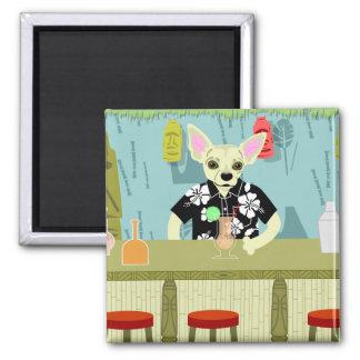 Chihuahua Bamboo Tiki Bar 2 Inch Square Magnet