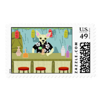 Chihuahua Bamboo Tiki Bar Stamp