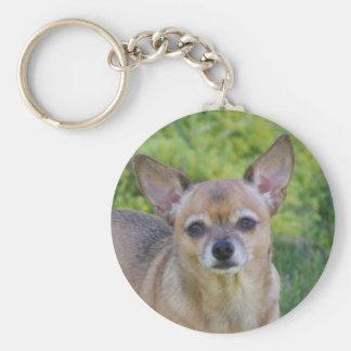 Chihuahua Basic Round Button Keychain