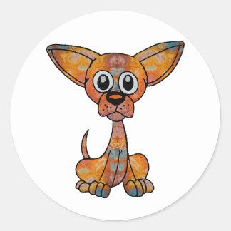 Chihuahua Batik Classic Round Sticker