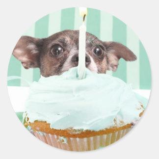 Chihuahua birthday cake classic round sticker