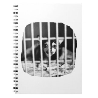 chihuahua Black and White Behind cage Bars Notebook