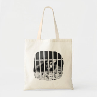 chihuahua Black and White Behind cage Bars Tote Bag