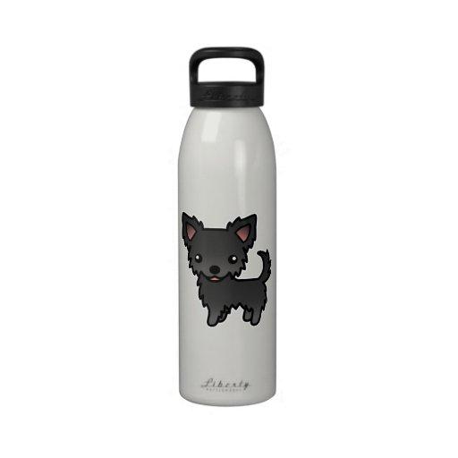 Chihuahua Black Long Coat Water Bottle