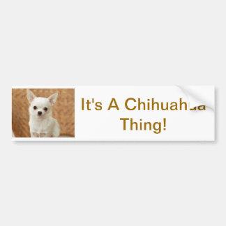 Chihuahua blanca pegatina de parachoque