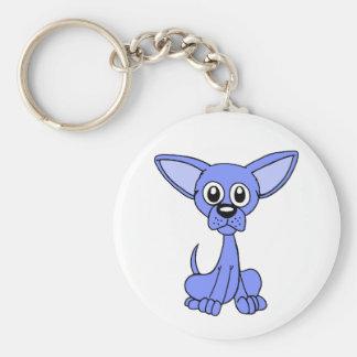Chihuahua Blue Basic Round Button Keychain